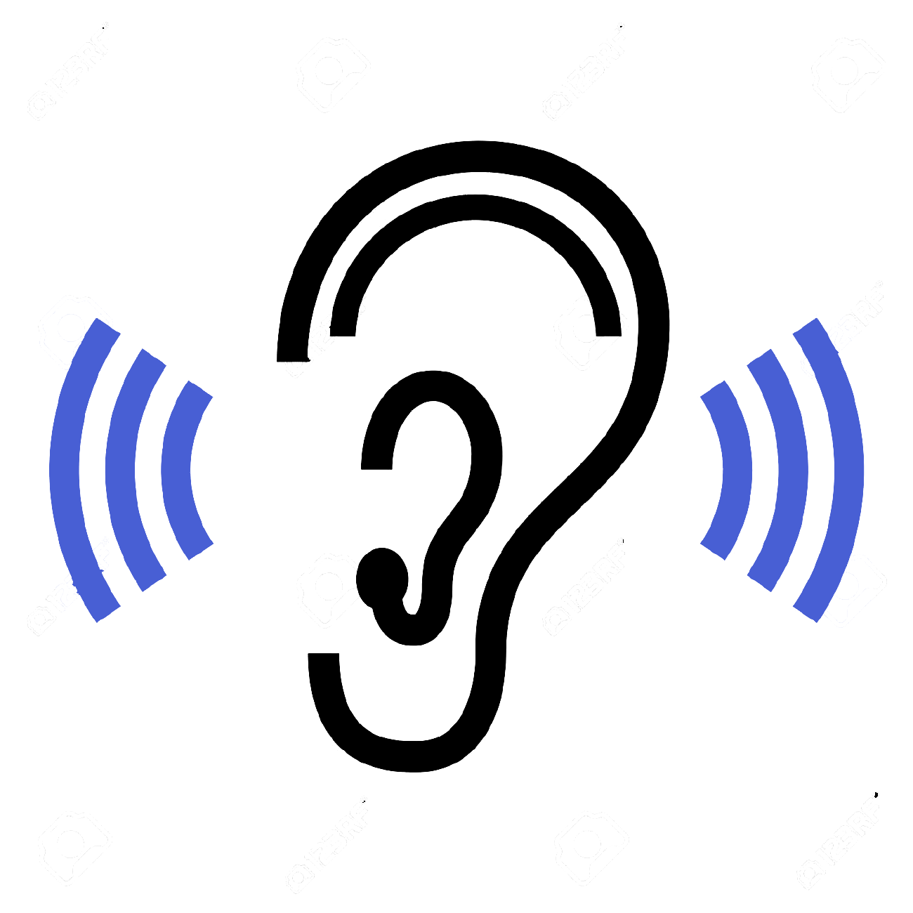 Icon of an Ear with radio waves standing for Call to listen to