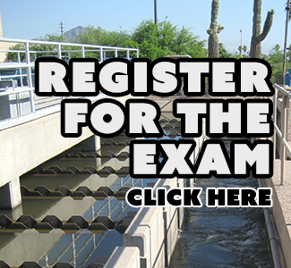 Image of water treatment plant with text that says register for exam